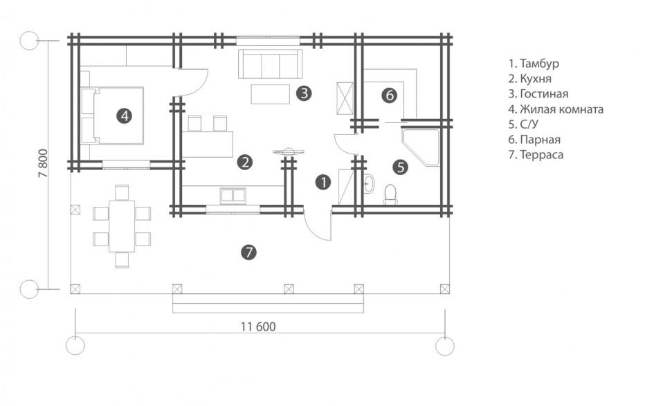 Дом в д. Володьки с кровлей из дранки. 60 м2